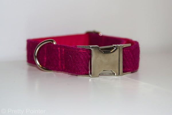Harris Tweed Fuchsia Pink Designer Dog Collar Bow Tie